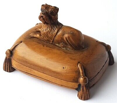 Rare Postage Stamp Box Dog Wood Carving France 1860 - 1870 Al1271