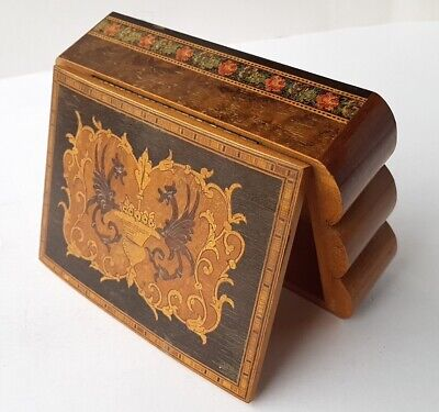 Casket / Tin Wood with Inlaid Belgium um 1930 Al1275