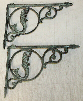 6 Cast Iron Antique Style Mermaid  Brackets, Garden Braces RUSTIC Shelf Bracket