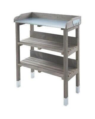 3 Tier Potting Table Garden Work Bench with storage shelves and tool hooks