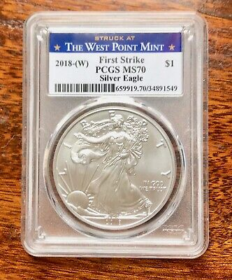 2018-(W) PCGS MS70 First Strike $1 Silver Eagle Struck at West Point