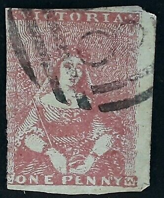Rare 1850- Victoria Australia 1d Dull red Imperf Halflength stamp Used