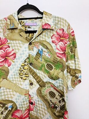cbc36e9d Jams World for Target Ukulele Guitar Rayon Hawaiian Shirt Mens Sz Small  Slim Fit