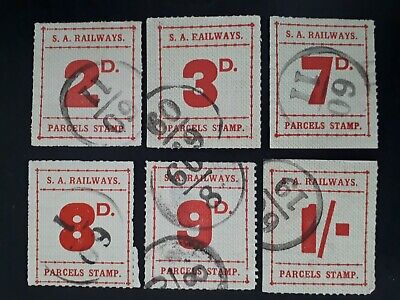 Rare 1936-56 South Australia lot of 6X Railways & Parcels stamps to 1/- Used