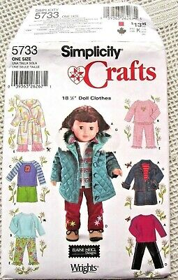 5733 Simplicity Sewing Pattern Uncut American Girl 18 Doll Clothes