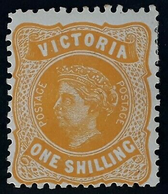 1906- Victoria Australia 1/- Orange Postage stamp WMK Crown/A Inverted P12.5 Mnt