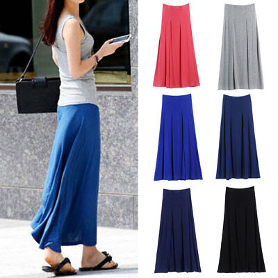 Women Lady Summer Plus Size A-line Dress Modal Bohomia Long Pleated Skirts AU