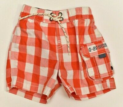 1af0f3d41c Baby Gap Boys Swim Trunks Shorts 12-18 Months Infant Orange White Checked