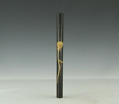 Chinese Exquisite Handmade dragonfly lotus wood Incense tube