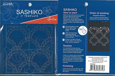 "4"" Sew Easy Sashiko Embroidery Template. "" Seigaiha """