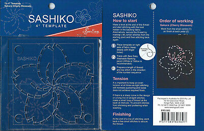 "4"" Sew Easy Sashiko Embroidery Template. "" Sakura """