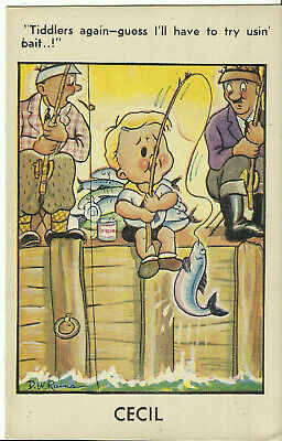 """Comic Postcard - Cecil, """"Tiddlers Again..Try Using Bait"""" by D.W. Rains"""