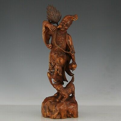 Chinese Exquisite Hand-carved Jigong dog Carving Boxwood statue