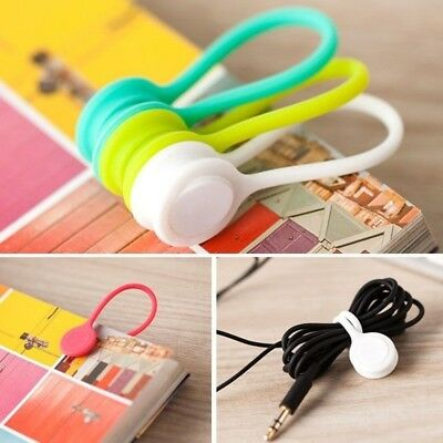 Multifunction Magnetic Earphone Cord Winder Organizer Cable Holder Clips Wrap