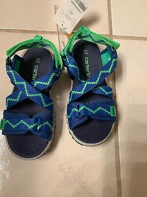 CARTER/'S Splash-3B Toddler Boys Sandals Shoes Size 6 Navy Blue//Neon Green