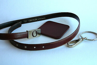 Vintage OROTON® LEATHER BELT with OROTON® Keyring & Purse Mirror ~ Belt is 1970s