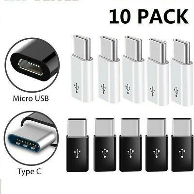 10Pack USB 3.1 Type C Male to Micro USB Female Adapter Converter Connector USB-C