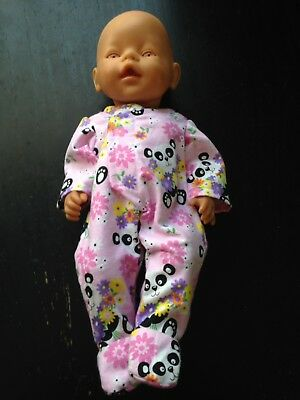 Homemade Baby Born Pink With Pandas Coverall Pyjamas