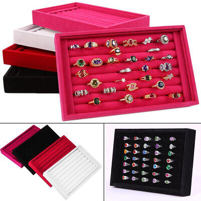 Velvet Jewelry Ring Earring Display Box Tray Holder Storage Showcase Organizer #
