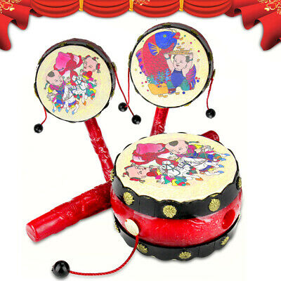Durable Baby Kid Cartoon Hand Bell Spinner Rattle Drum Musical Instrument Toy