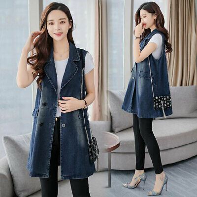 c9ce234142732 Women Vest Cowboy Denim Waistcoat Sleeveless Long Coat Jeans Jacket blue  fashion