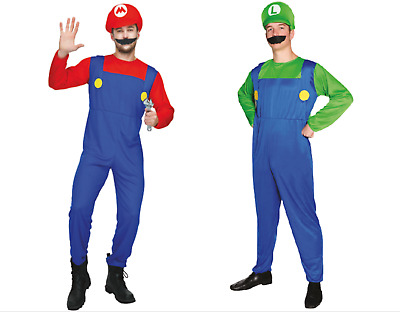 Adult Mens Super Mario & Luigi Bros Fancy Dress Costume Plumber Dress Up Party