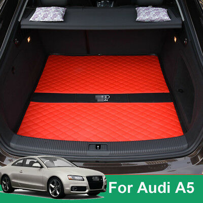 For Audi A5 08-2016 Car Trunk Boot Rear Cargo Protection Carpets Top leather Red