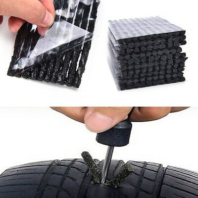 50 Pcs Car Bike Tyre Tubeless Seal Strip Plug Tire Puncture Repair Recovery Kit