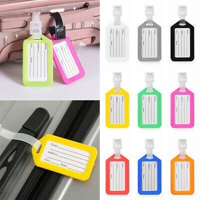 10pcs Travel Luggage Bag Tag Name Address ID Label Plastic Suitcase Baggage Tags