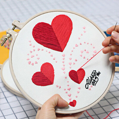 Heart finished embroidery piece with hoop home decor needlework Valentines gift