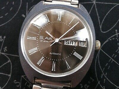 Rare Vintage Old Slava Automatic 27 Jewels Made in USSR Men's Russian Wristwatch