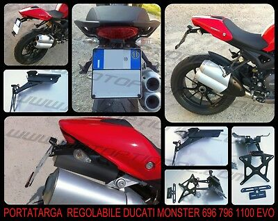 Support plaque d'immatriculation Réglable Ducati Monster 696 796 1100 1100EVO