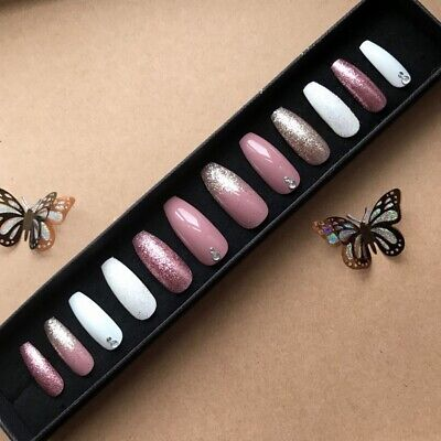 Hand Painted False Nails XL COFFIN (or ANY) Glitter Dusky Pink Gold & White UK