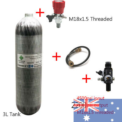 3L 4500psi Carbon Fiber SCBA Air Cylinder for PCP Airsoft Hunting+ Valve M18X1.5