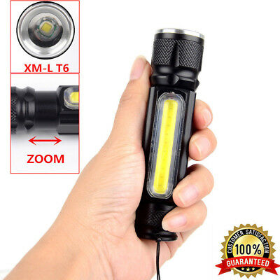Portable Zoomable 8000LM XML-T6 COB LED USB Rechargeable Flashlight Torch