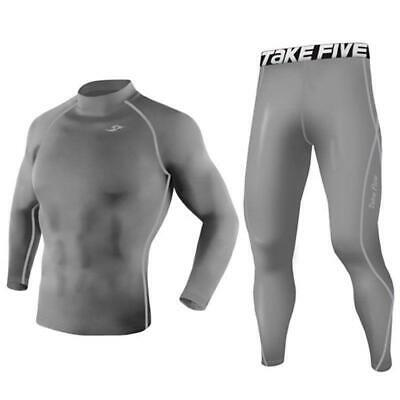 Youth Kids Grey Sports Compression Base Layer Long Sleeve Top Pants Set Take 5