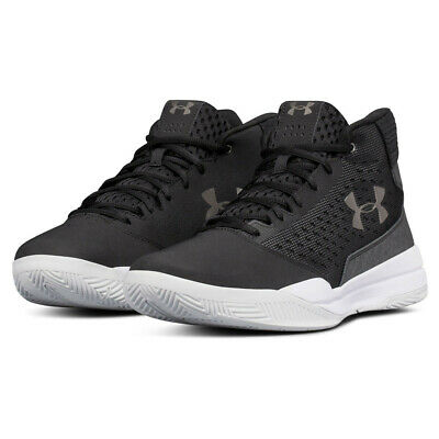 8a0722173751 Under Armour Mens UA Jet Mid Basketball Shoe Black White Sports Breathable