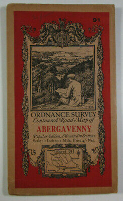 1932 Old Vintage OS Ordnance Survey Popular Edition One-Inch Map 91 Abergavenny