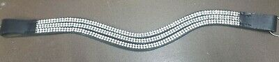 Elite SPLIT Leather BROWBAND with Bling Silver Diamantes (QF2)