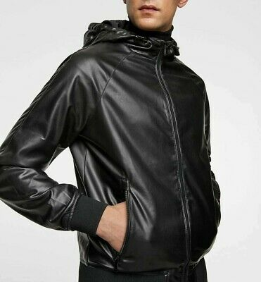 7c42de68 Zara Man New 2019 Black Faux Leather Jacket With Hood Ref: 8281/453