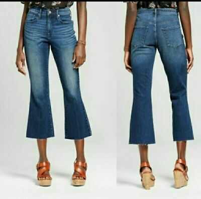 17d0ac27409d0 Mossimo Womens High Rise Cropped Flared Raw Hem Jeans Size 2 26R Stretch