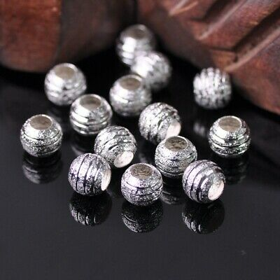 30Pcs 8mm Round Silver Carved Stripe Frosted Big Hole Loose Beads Findings DIY