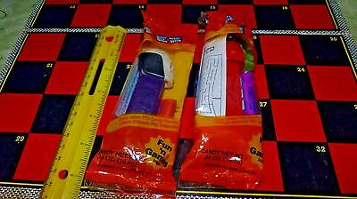 PEZ Witch w/green face & Skull w/purple base orange halloween wrapper free ship