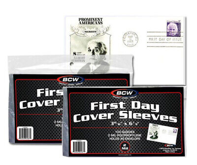 200 FDC Sleeves First Day Cover Holders Postcard Photos BCW Ultra Thin Soft 2 Pk