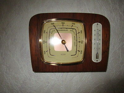 Altes Barometer, Thermometer in Echtholz, Eiche Mittel, Fabrikat Sundo
