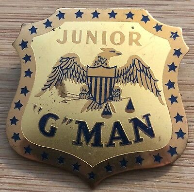 "FBI - VINTAGE - 1930's production JUNIOR ""G"" MAN pin Melvin Purvis uncirculated"