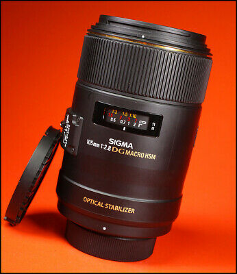 Sigma EX 105mm F2.8 DG OS Macro HSM Lens Nikon Sold with Front & Rear Caps