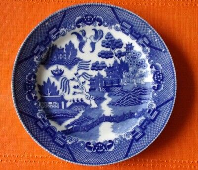 """BLUE WILLOW 10 INCH PLATE Marked JAPAN with Company LOGO """"H"""""""