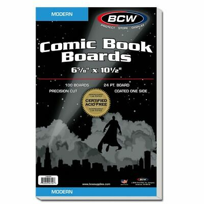 100 BCW Current RESEALABLE Comic Bags/Sleeves & 100 MODERN Boards - 6 5/8 X 10