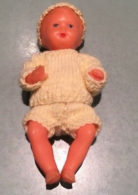 "Made In West Germany Hard Plastic Doll 3.5"" Moulded Hair Hand Knitted Clothes"